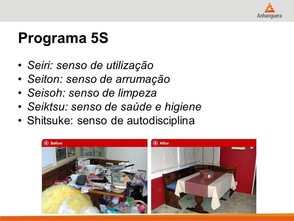 13 Programa 5S Seiri: senso de utilização Seiton: senso de arrumação Seisoh: senso de limpeza Seiktsu: senso de saúde e higiene Shitsuke: senso de aut