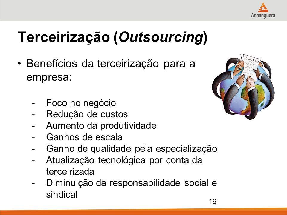 19 Terceirização (Outsourcing) Benefícios da terceirização para a empresa: -Foco no negócio -Redução de custos -Aumento da produtividade -Ganhos de es