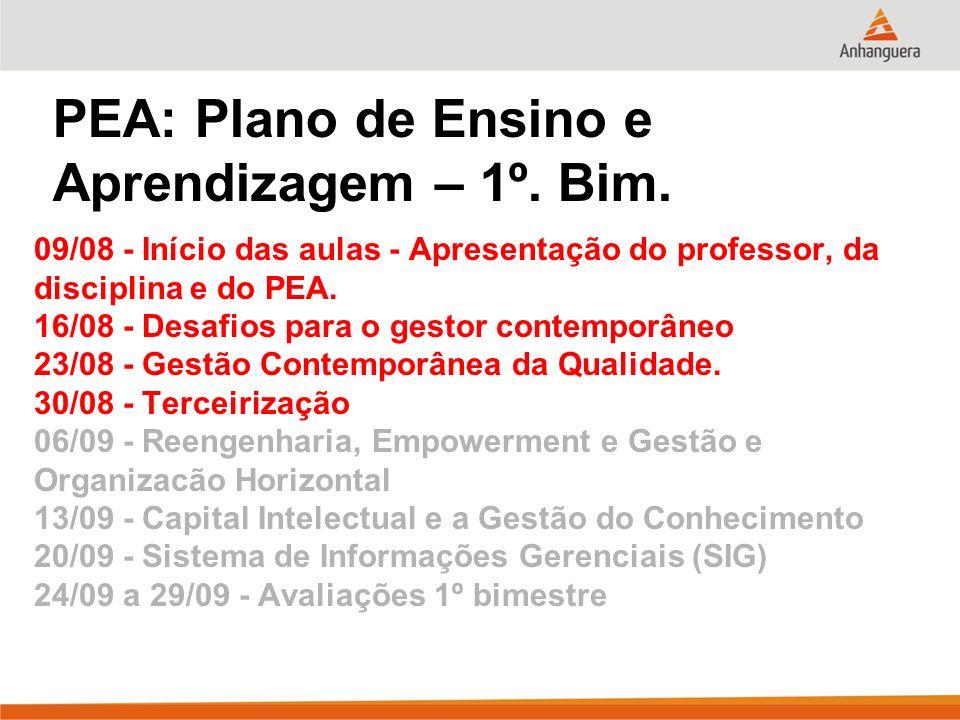 PEA: Plano de Ensino e Aprendizagem – 1º. Bim. 09/08 - Início das aulas - Apresentação do professor, da disciplina e do PEA. 16/08 - Desafios para o g