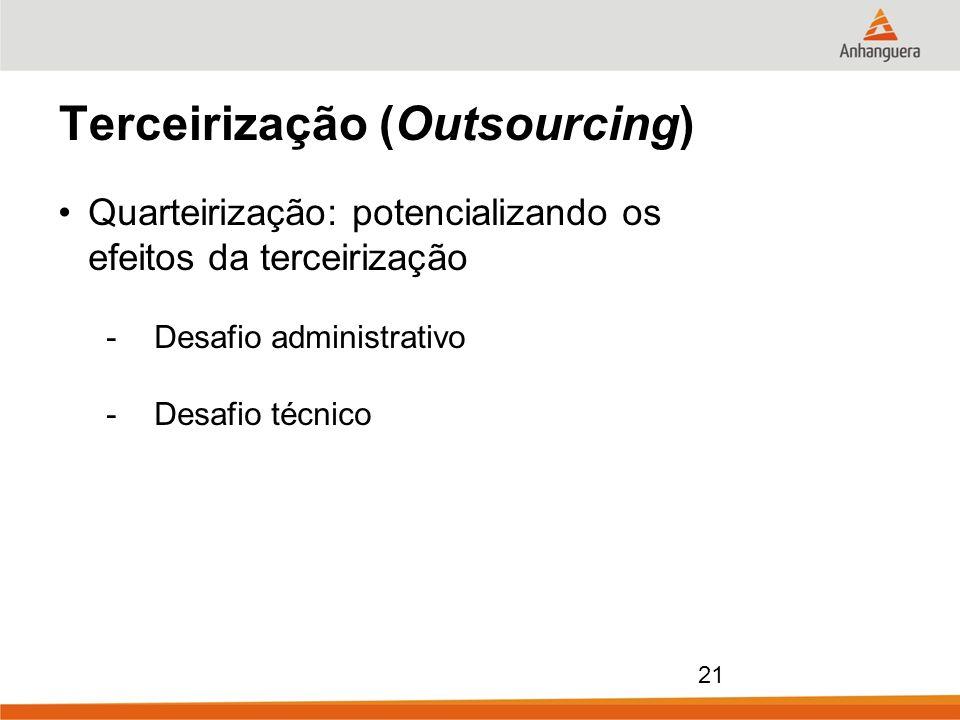 21 Terceirização (Outsourcing) Quarteirização: potencializando os efeitos da terceirização -Desafio administrativo -Desafio técnico