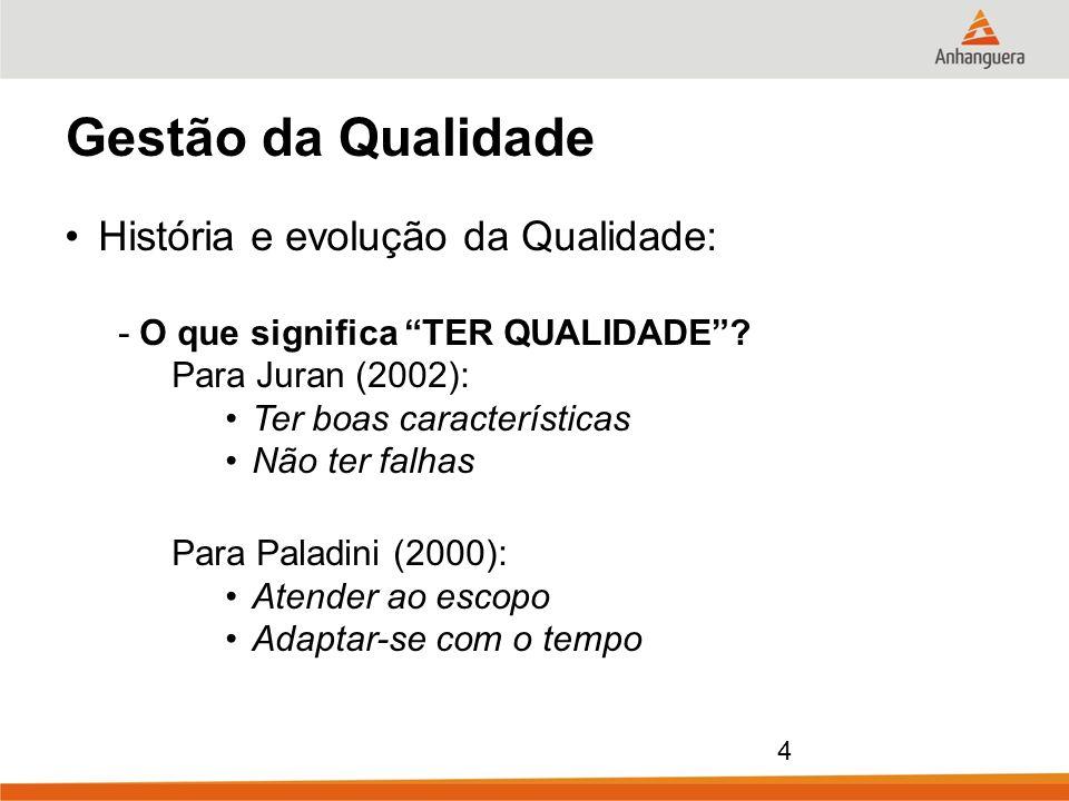 4 Gestão da Qualidade História e evolução da Qualidade: - O que significa TER QUALIDADE? Para Juran (2002): Ter boas características Não ter falhas Pa