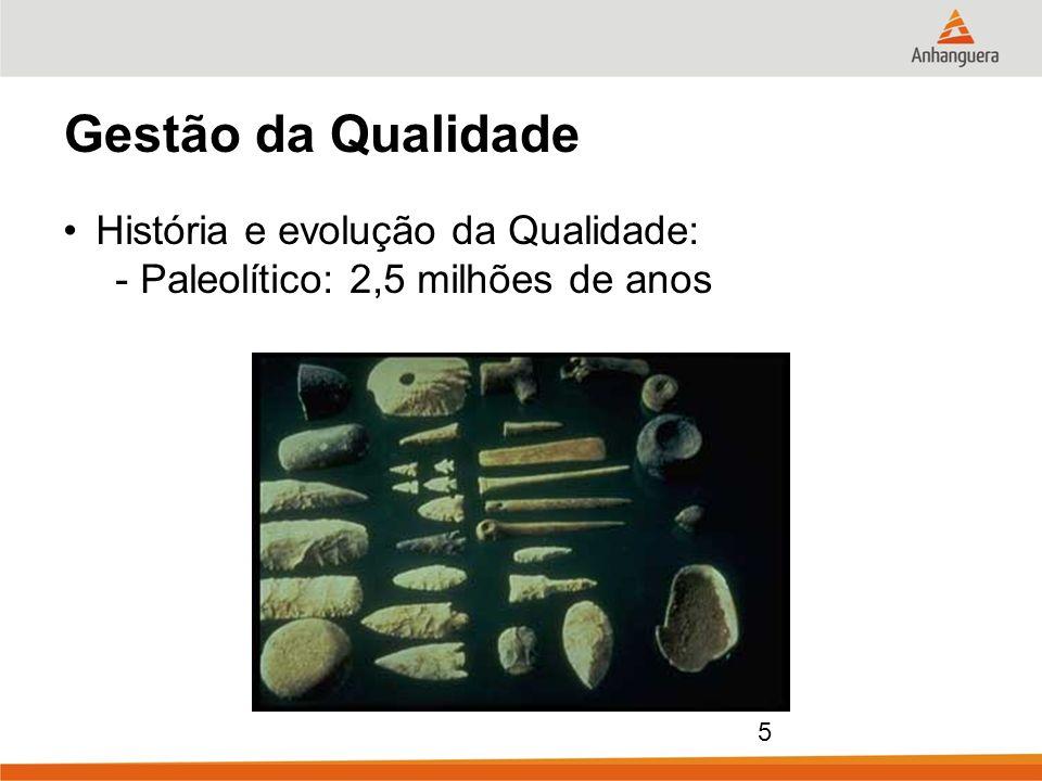 5 Gestão da Qualidade História e evolução da Qualidade: - Paleolítico: 2,5 milhões de anos
