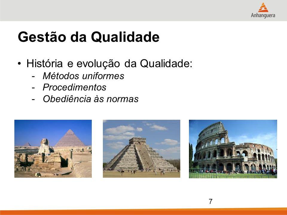 7 Gestão da Qualidade História e evolução da Qualidade: -Métodos uniformes -Procedimentos -Obediência às normas