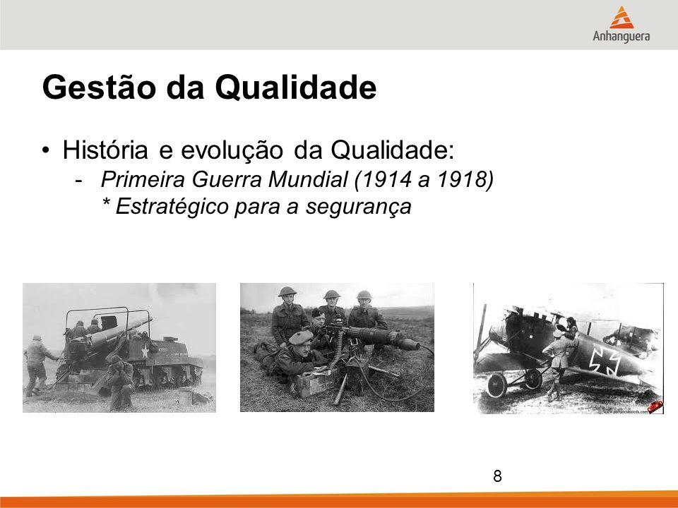 8 Gestão da Qualidade História e evolução da Qualidade: -Primeira Guerra Mundial (1914 a 1918) * Estratégico para a segurança