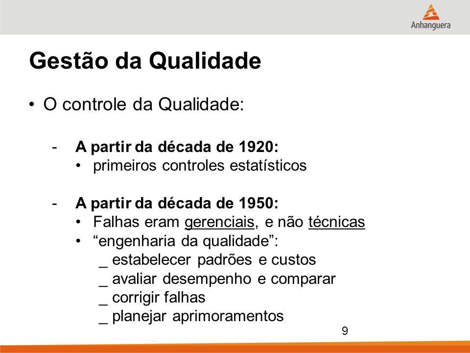 9 Gestão da Qualidade O controle da Qualidade: -A partir da década de 1920: primeiros controles estatísticos -A partir da década de 1950: Falhas eram