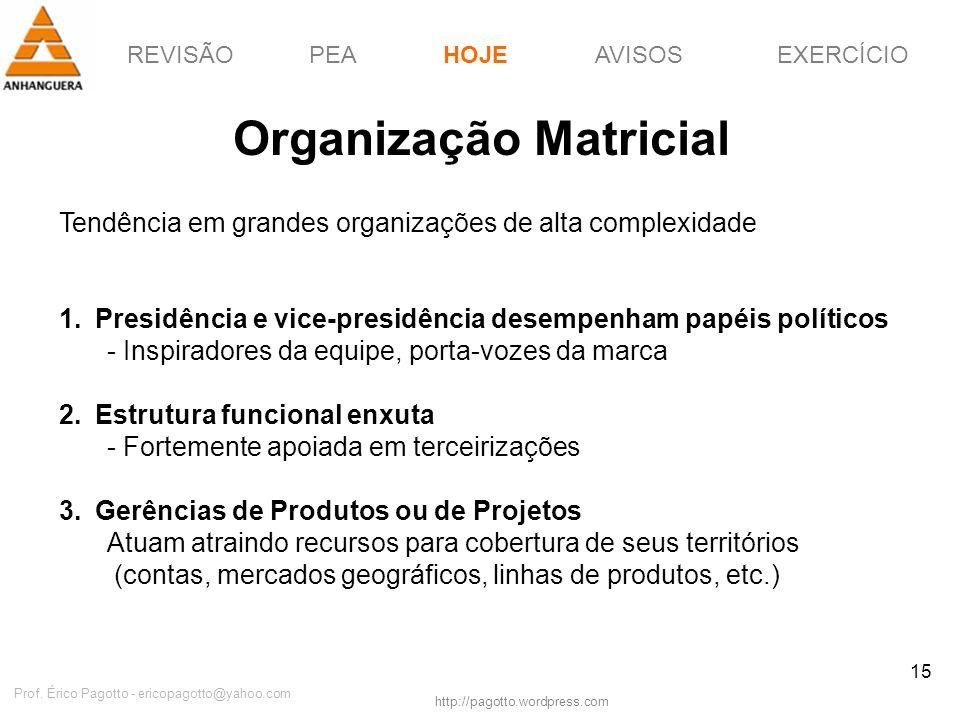 REVISÃOPEAHOJEEXERCÍCIOAVISOS http://pagotto.wordpress.com Prof. Érico Pagotto - ericopagotto@yahoo.com 15 Organização Matricial Tendência em grandes