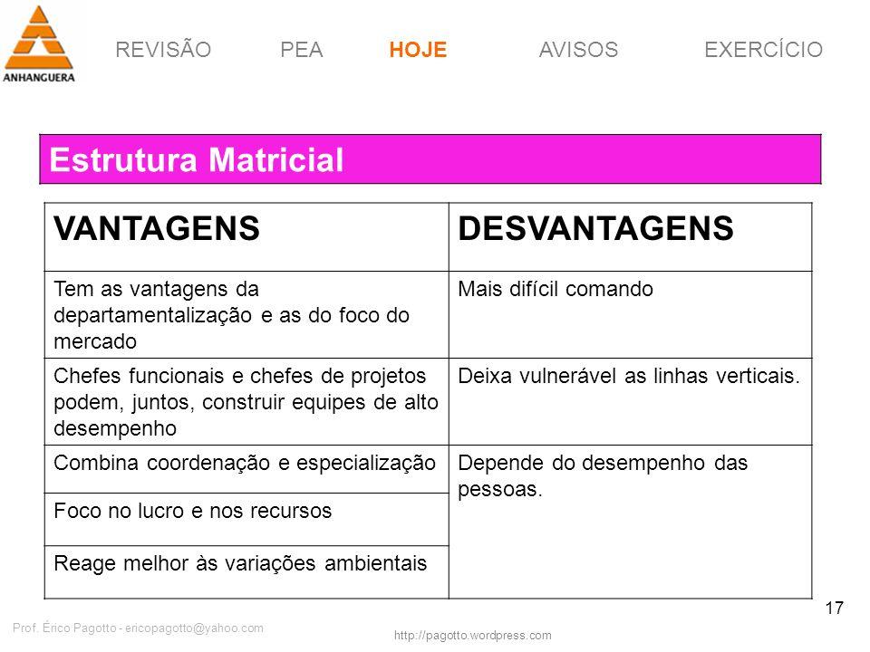 REVISÃOPEAHOJEEXERCÍCIOAVISOS http://pagotto.wordpress.com Prof. Érico Pagotto - ericopagotto@yahoo.com 17 Estrutura Matricial HOJE VANTAGENSDESVANTAG