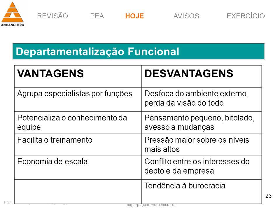 REVISÃOPEAHOJEEXERCÍCIOAVISOS http://pagotto.wordpress.com Prof. Érico Pagotto - ericopagotto@yahoo.com 23 Departamentalização Funcional HOJE VANTAGEN