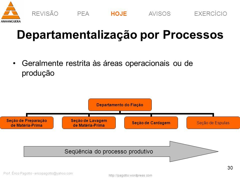 REVISÃOPEAHOJEEXERCÍCIOAVISOS http://pagotto.wordpress.com Prof. Érico Pagotto - ericopagotto@yahoo.com 30 Departamentalização por Processos Geralment