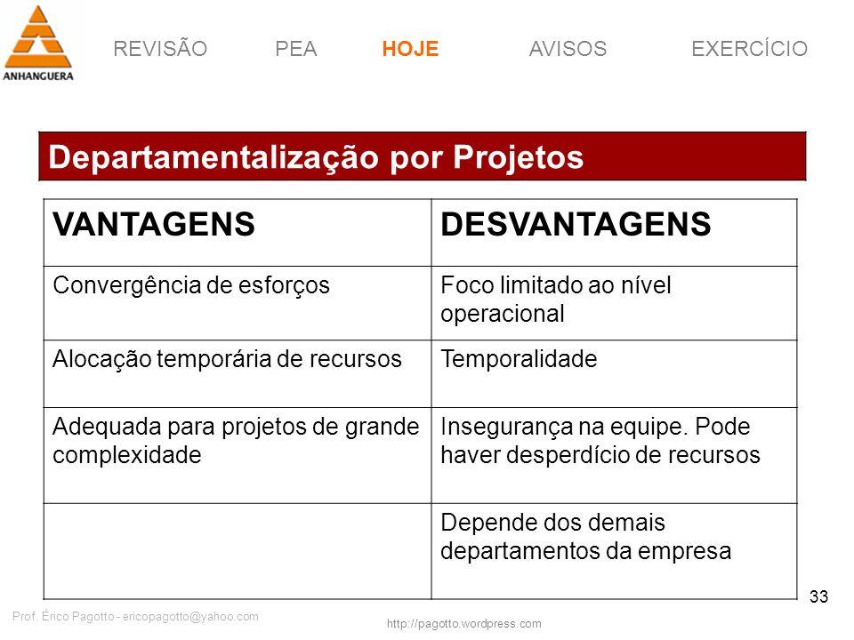REVISÃOPEAHOJEEXERCÍCIOAVISOS http://pagotto.wordpress.com Prof. Érico Pagotto - ericopagotto@yahoo.com 33 Departamentalização por Projetos HOJE VANTA