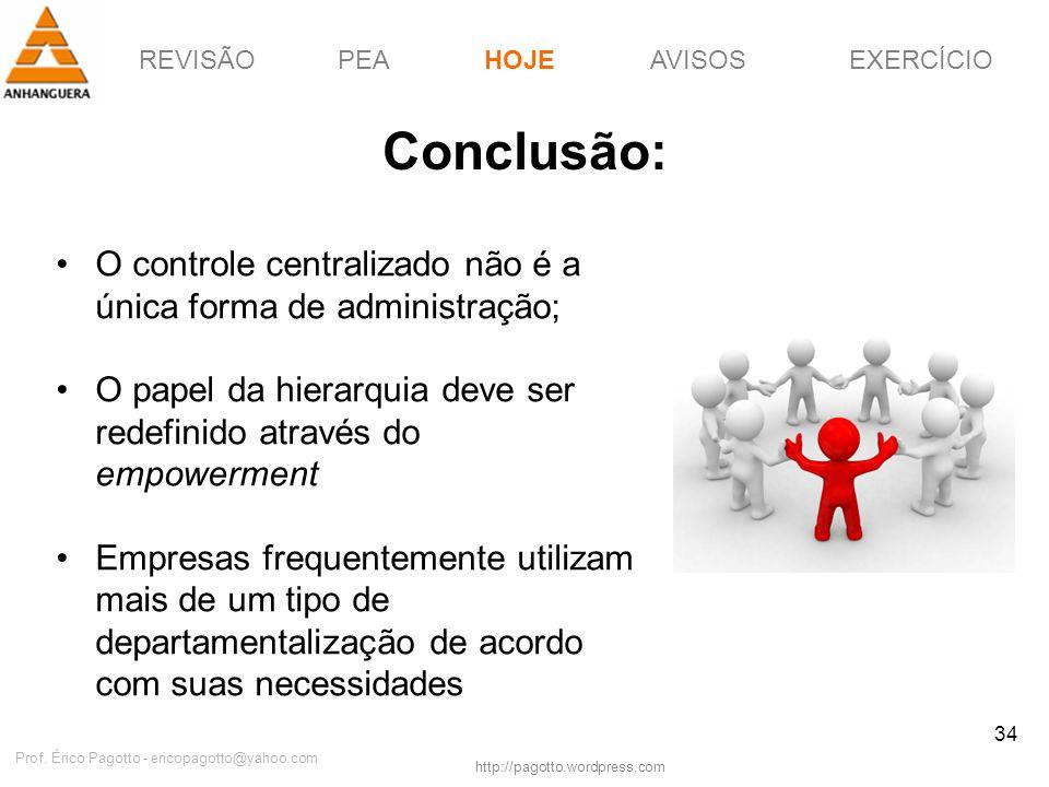 REVISÃOPEAHOJEEXERCÍCIOAVISOS http://pagotto.wordpress.com Prof. Érico Pagotto - ericopagotto@yahoo.com 34 Conclusão: O controle centralizado não é a