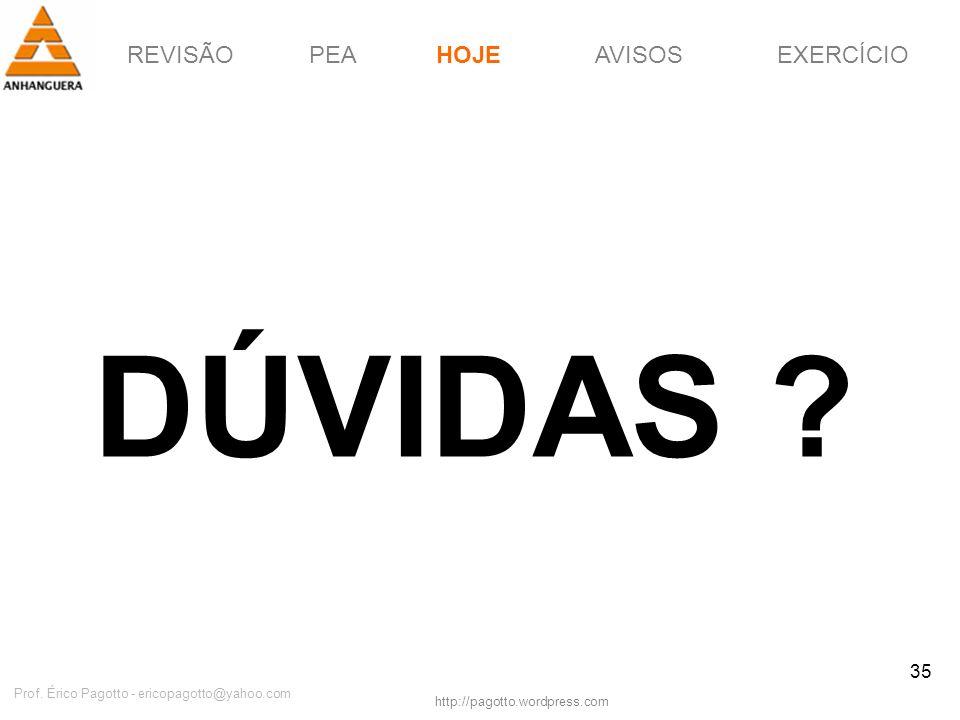 REVISÃOPEAHOJEEXERCÍCIOAVISOS http://pagotto.wordpress.com Prof. Érico Pagotto - ericopagotto@yahoo.com 35 DÚVIDAS ? HOJE