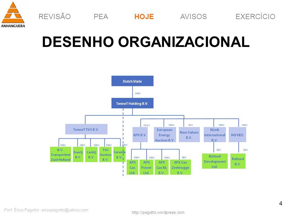 REVISÃOPEAHOJEEXERCÍCIOAVISOS http://pagotto.wordpress.com Prof. Érico Pagotto - ericopagotto@yahoo.com 4 DESENHO ORGANIZACIONAL HOJE