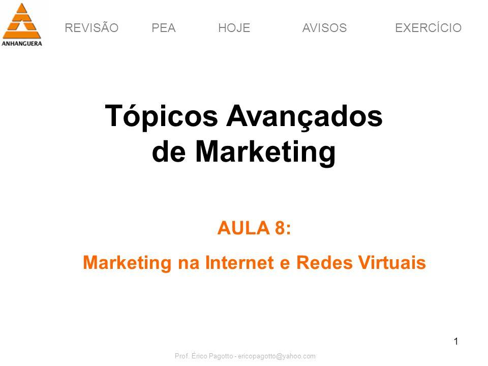 REVISÃOPEAHOJEEXERCÍCIOAVISOS Prof. Érico Pagotto - ericopagotto@yahoo.com 1 Tópicos Avançados de Marketing AULA 8: Marketing na Internet e Redes Virt