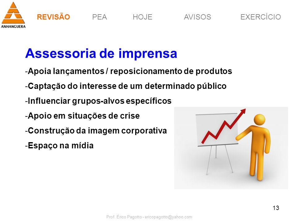 PEAHOJEEXERCÍCIOAVISOS Prof. Érico Pagotto - ericopagotto@yahoo.com 13 Assessoria de imprensa -Apoia lançamentos / reposicionamento de produtos -Capta