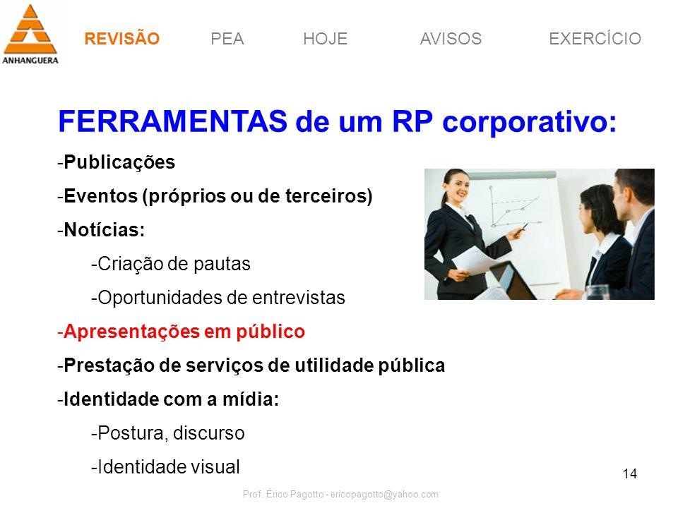 PEAHOJEEXERCÍCIOAVISOS Prof. Érico Pagotto - ericopagotto@yahoo.com 14 FERRAMENTAS de um RP corporativo: -Publicações -Eventos (próprios ou de terceir