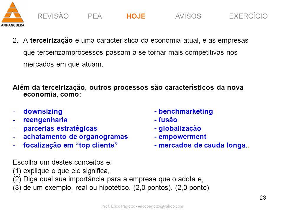 REVISÃOPEAHOJEEXERCÍCIOAVISOS Prof. Érico Pagotto - ericopagotto@yahoo.com 23 2.A terceirização é uma característica da economia atual, e as empresas