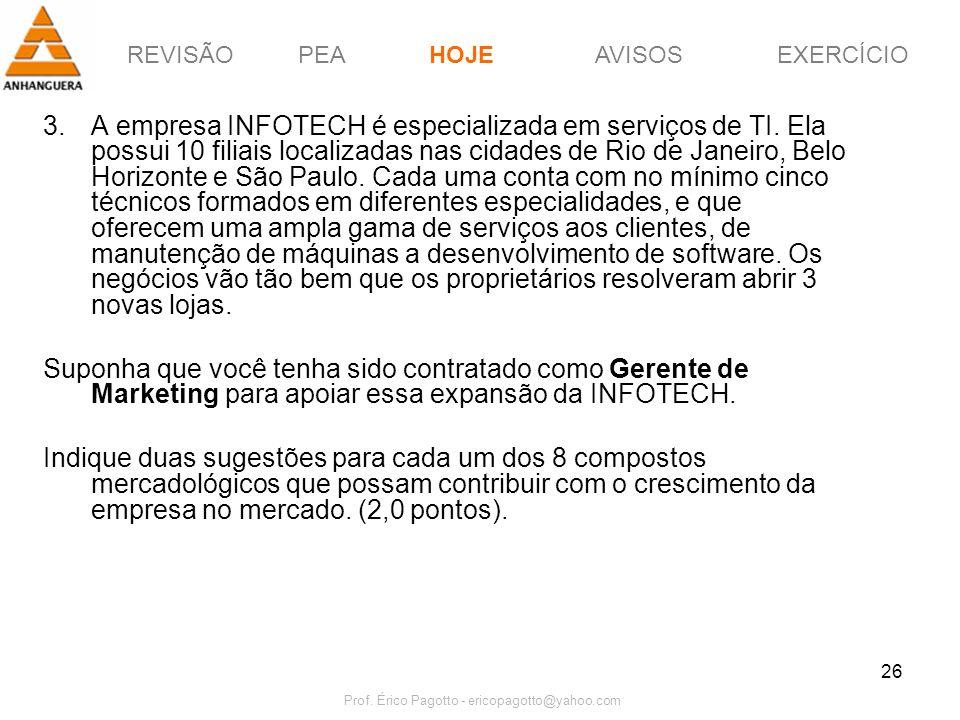 REVISÃOPEAHOJEEXERCÍCIOAVISOS Prof. Érico Pagotto - ericopagotto@yahoo.com 26 3.A empresa INFOTECH é especializada em serviços de TI. Ela possui 10 fi