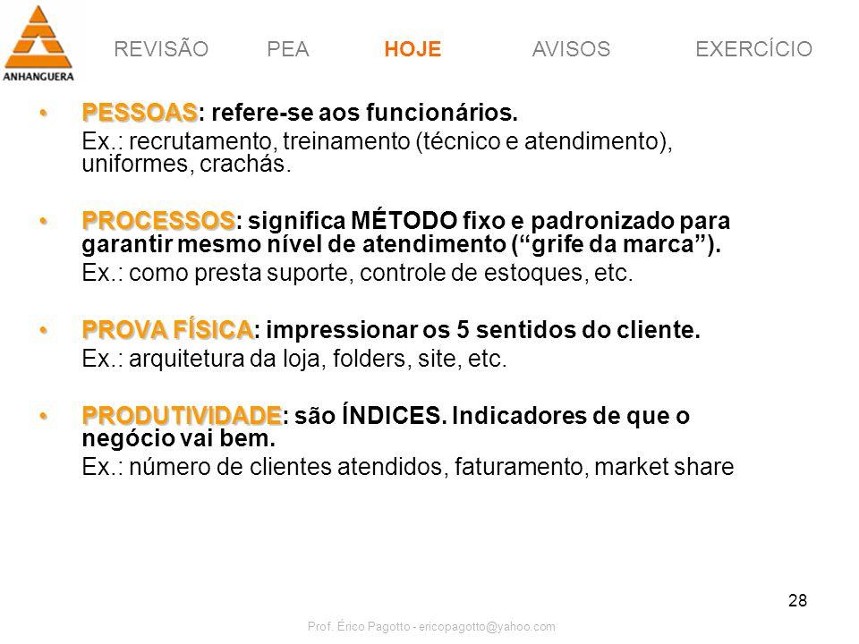 REVISÃOPEAHOJEEXERCÍCIOAVISOS Prof. Érico Pagotto - ericopagotto@yahoo.com 28 PESSOASPESSOAS: refere-se aos funcionários. Ex.: recrutamento, treinamen