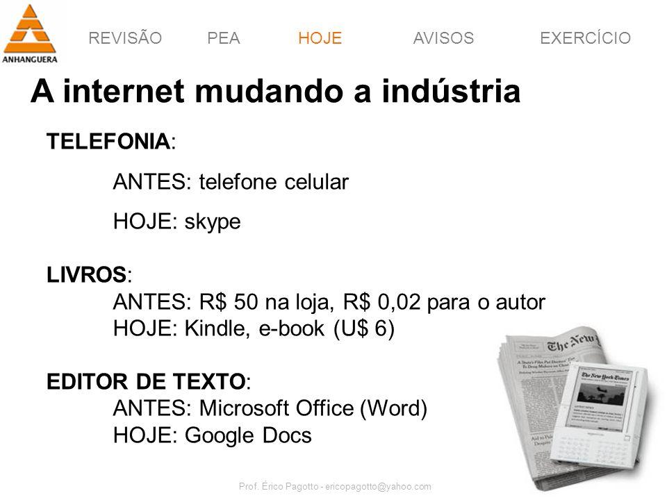 REVISÃOPEAHOJEEXERCÍCIOAVISOS Prof. Érico Pagotto - ericopagotto@yahoo.com 37 A internet mudando a indústria HOJE TELEFONIA: ANTES: telefone celular H