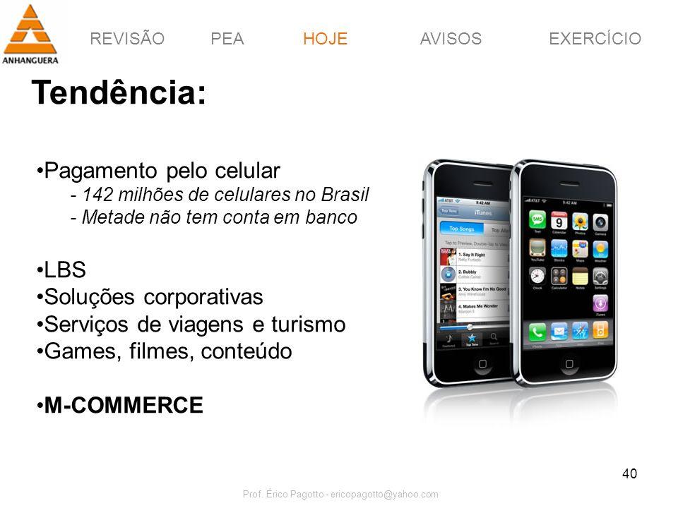 REVISÃOPEAHOJEEXERCÍCIOAVISOS Prof. Érico Pagotto - ericopagotto@yahoo.com 40 Tendência: HOJE Pagamento pelo celular - 142 milhões de celulares no Bra