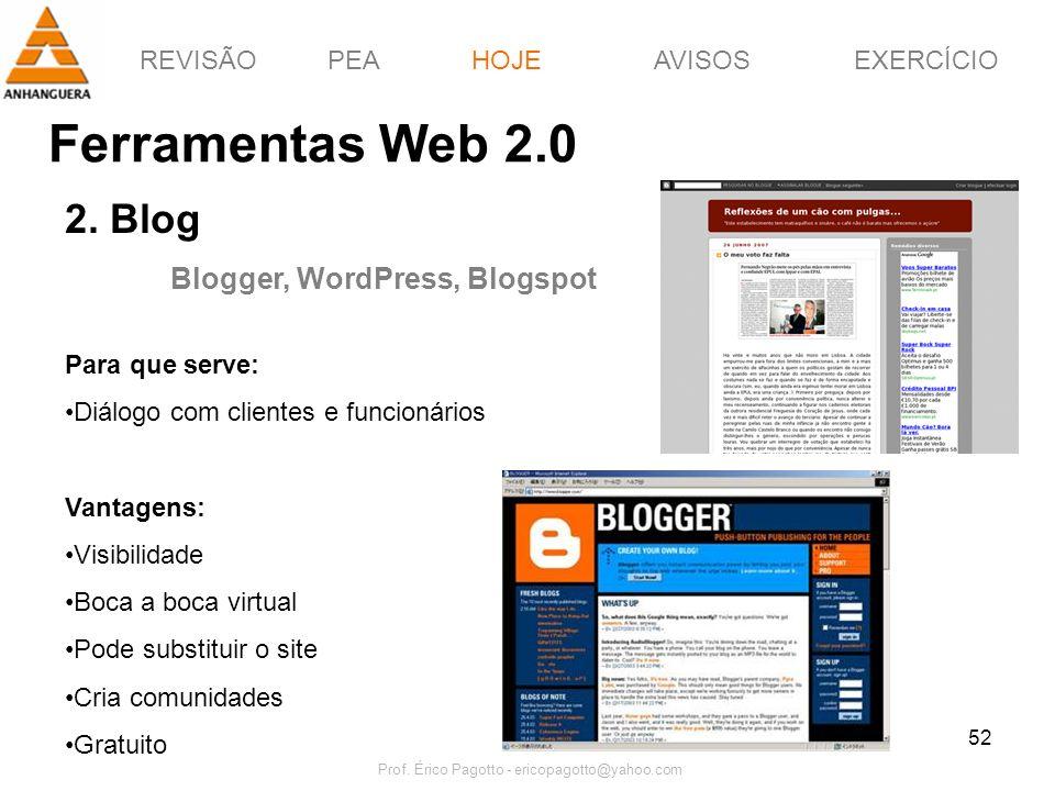 REVISÃOPEAHOJEEXERCÍCIOAVISOS Prof. Érico Pagotto - ericopagotto@yahoo.com 52 Ferramentas Web 2.0 HOJE 2. Blog Blogger, WordPress, Blogspot Para que s