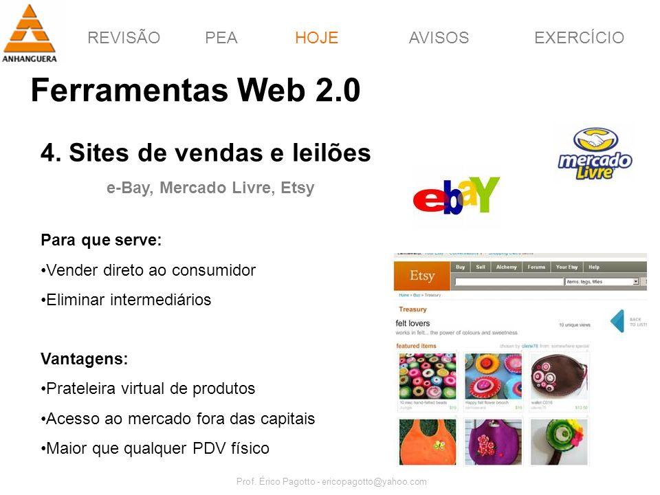 REVISÃOPEAHOJEEXERCÍCIOAVISOS Prof. Érico Pagotto - ericopagotto@yahoo.com 54 Ferramentas Web 2.0 HOJE 4. Sites de vendas e leilões e-Bay, Mercado Liv