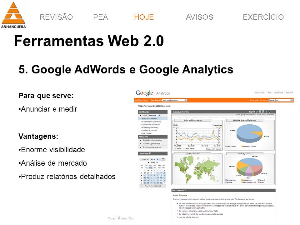 REVISÃOPEAHOJEEXERCÍCIOAVISOS Prof. Érico Pagotto - ericopagotto@yahoo.com 55 Ferramentas Web 2.0 HOJE 5. Google AdWords e Google Analytics Para que s