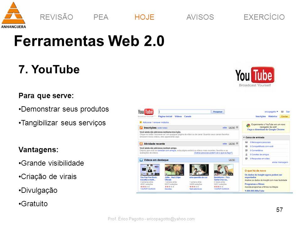 REVISÃOPEAHOJEEXERCÍCIOAVISOS Prof. Érico Pagotto - ericopagotto@yahoo.com 57 Ferramentas Web 2.0 HOJE 7. YouTube Para que serve: Demonstrar seus prod