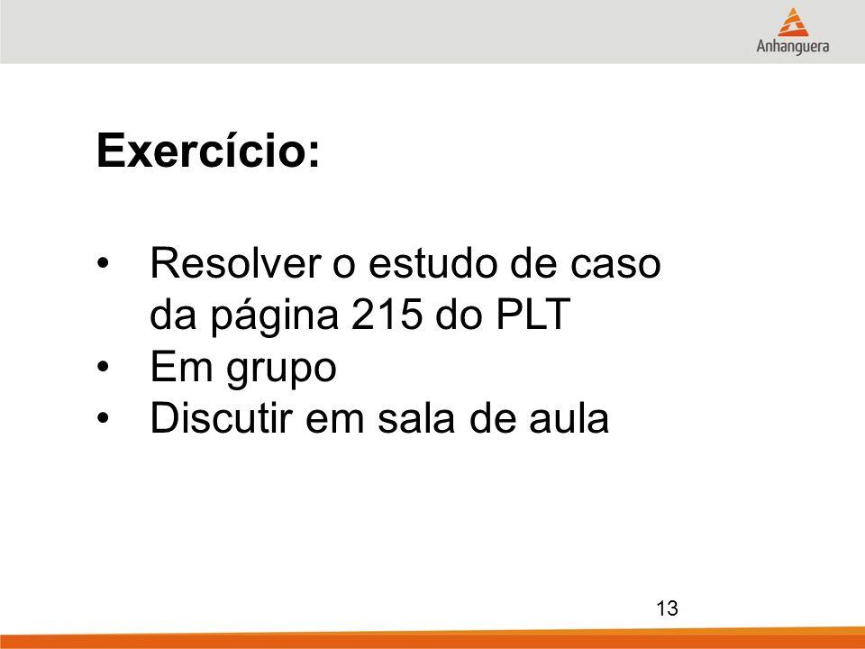 13 Exercício: Resolver o estudo de caso da página 215 do PLT Em grupo Discutir em sala de aula