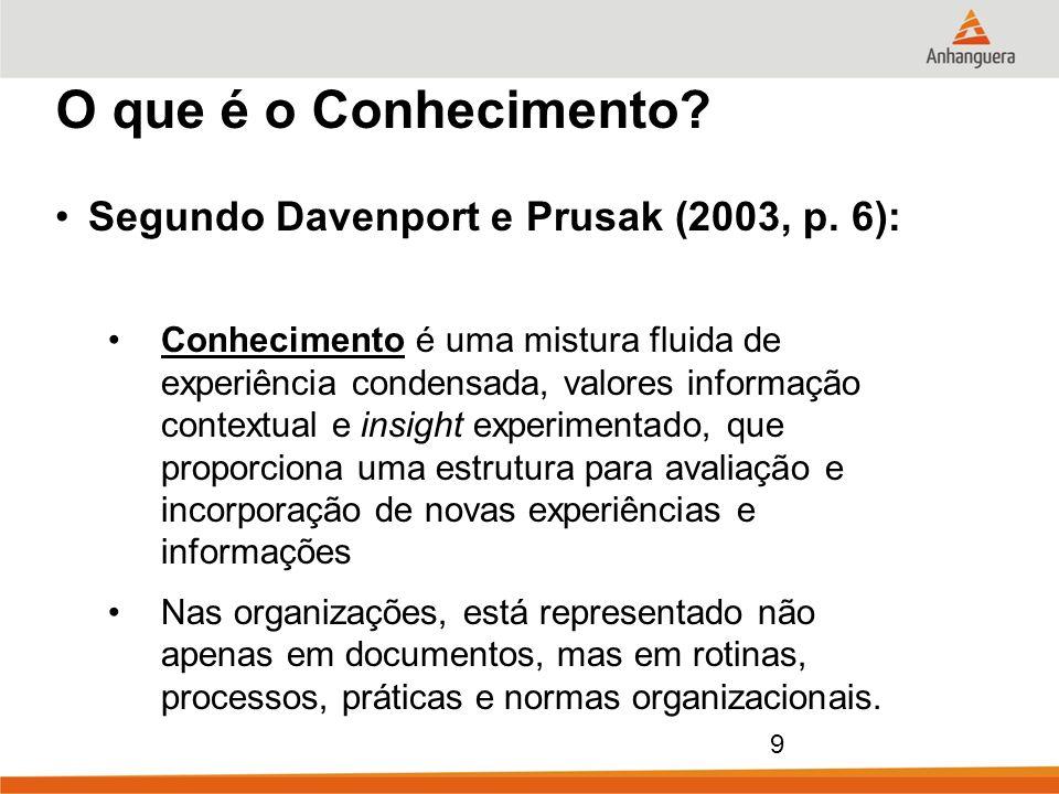 9 O que é o Conhecimento? Segundo Davenport e Prusak (2003, p. 6): Conhecimento é uma mistura fluida de experiência condensada, valores informação con