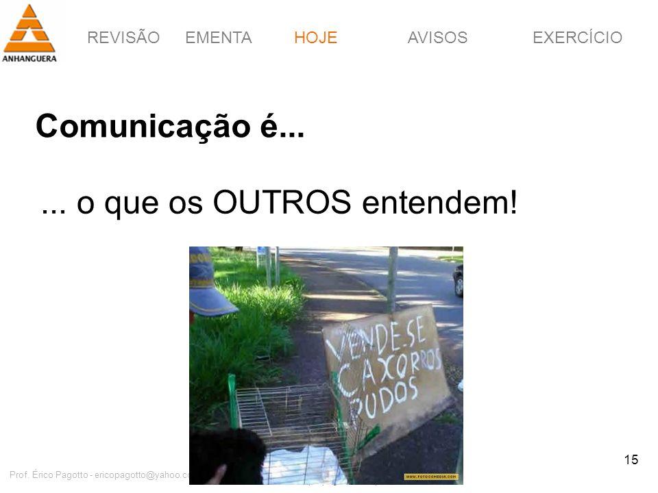 REVISÃOEMENTAHOJEEXERCÍCIOAVISOS http://pagotto.wordpress.com Prof. Érico Pagotto - ericopagotto@yahoo.com 15 Comunicação é... HOJE... o que os OUTROS