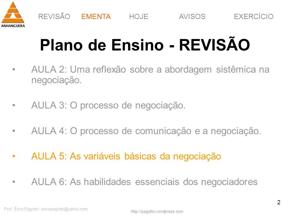 REVISÃOEMENTAHOJEEXERCÍCIOAVISOS http://pagotto.wordpress.com Prof. Érico Pagotto - ericopagotto@yahoo.com 2 Plano de Ensino - REVISÃO AULA 2: Uma ref