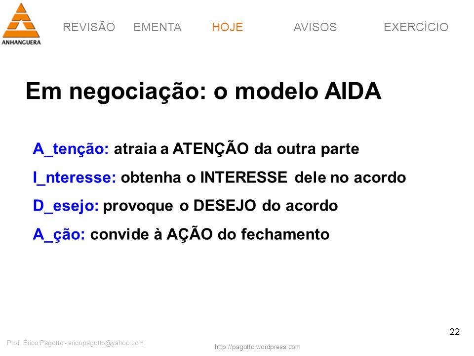 REVISÃOEMENTAHOJEEXERCÍCIOAVISOS http://pagotto.wordpress.com Prof. Érico Pagotto - ericopagotto@yahoo.com 22 Em negociação: o modelo AIDA HOJE A_tenç