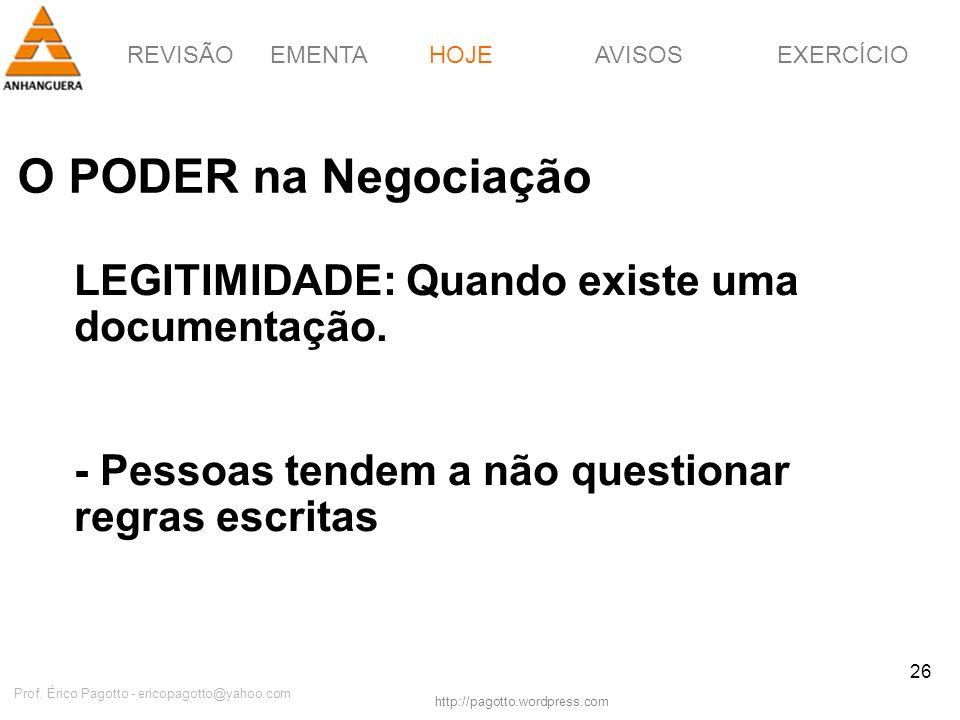 REVISÃOEMENTAHOJEEXERCÍCIOAVISOS http://pagotto.wordpress.com Prof. Érico Pagotto - ericopagotto@yahoo.com 26 O PODER na Negociação HOJE LEGITIMIDADE: