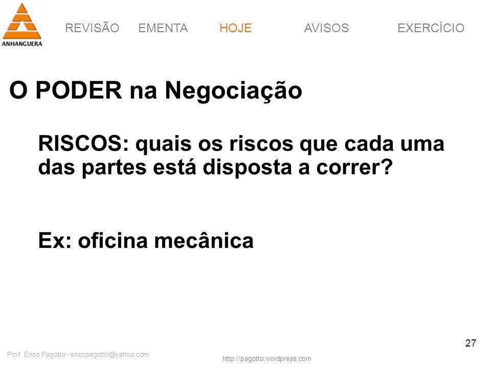 REVISÃOEMENTAHOJEEXERCÍCIOAVISOS http://pagotto.wordpress.com Prof. Érico Pagotto - ericopagotto@yahoo.com 27 O PODER na Negociação HOJE RISCOS: quais