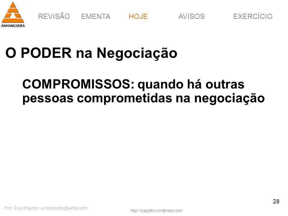 REVISÃOEMENTAHOJEEXERCÍCIOAVISOS http://pagotto.wordpress.com Prof. Érico Pagotto - ericopagotto@yahoo.com 28 O PODER na Negociação HOJE COMPROMISSOS: