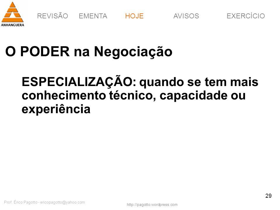 REVISÃOEMENTAHOJEEXERCÍCIOAVISOS http://pagotto.wordpress.com Prof. Érico Pagotto - ericopagotto@yahoo.com 29 O PODER na Negociação HOJE ESPECIALIZAÇÃ