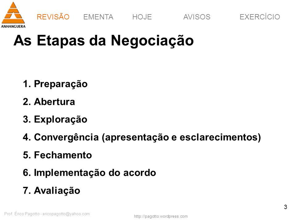 REVISÃOEMENTAHOJEEXERCÍCIOAVISOS http://pagotto.wordpress.com Prof. Érico Pagotto - ericopagotto@yahoo.com 3 As Etapas da Negociação 1.Preparação 2.Ab