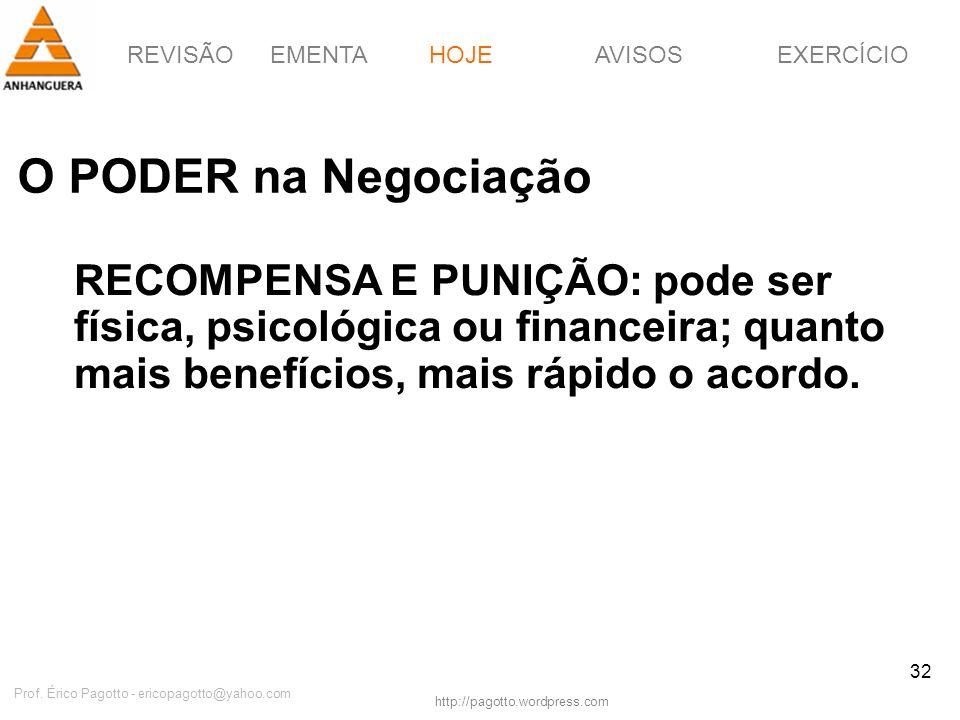 REVISÃOEMENTAHOJEEXERCÍCIOAVISOS http://pagotto.wordpress.com Prof. Érico Pagotto - ericopagotto@yahoo.com 32 O PODER na Negociação HOJE RECOMPENSA E