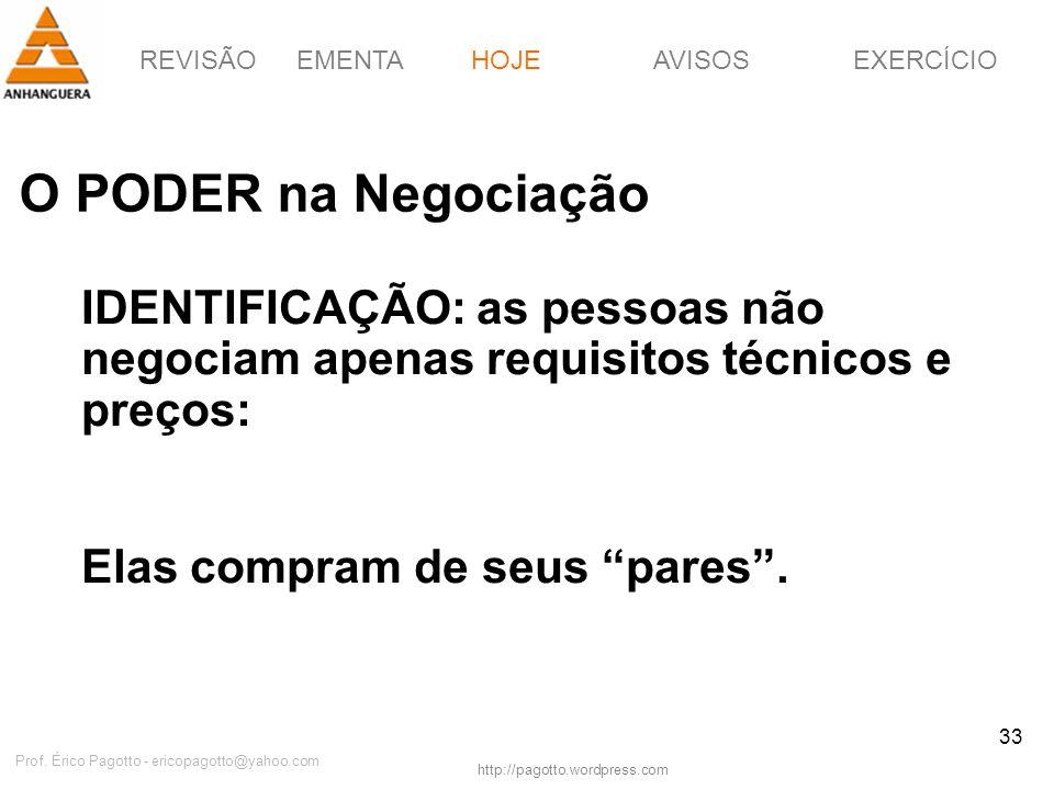 REVISÃOEMENTAHOJEEXERCÍCIOAVISOS http://pagotto.wordpress.com Prof. Érico Pagotto - ericopagotto@yahoo.com 33 O PODER na Negociação HOJE IDENTIFICAÇÃO