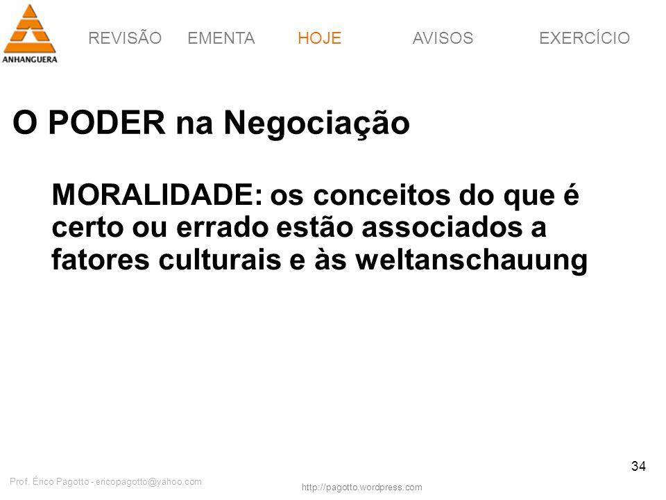 REVISÃOEMENTAHOJEEXERCÍCIOAVISOS http://pagotto.wordpress.com Prof. Érico Pagotto - ericopagotto@yahoo.com 34 O PODER na Negociação HOJE MORALIDADE: o