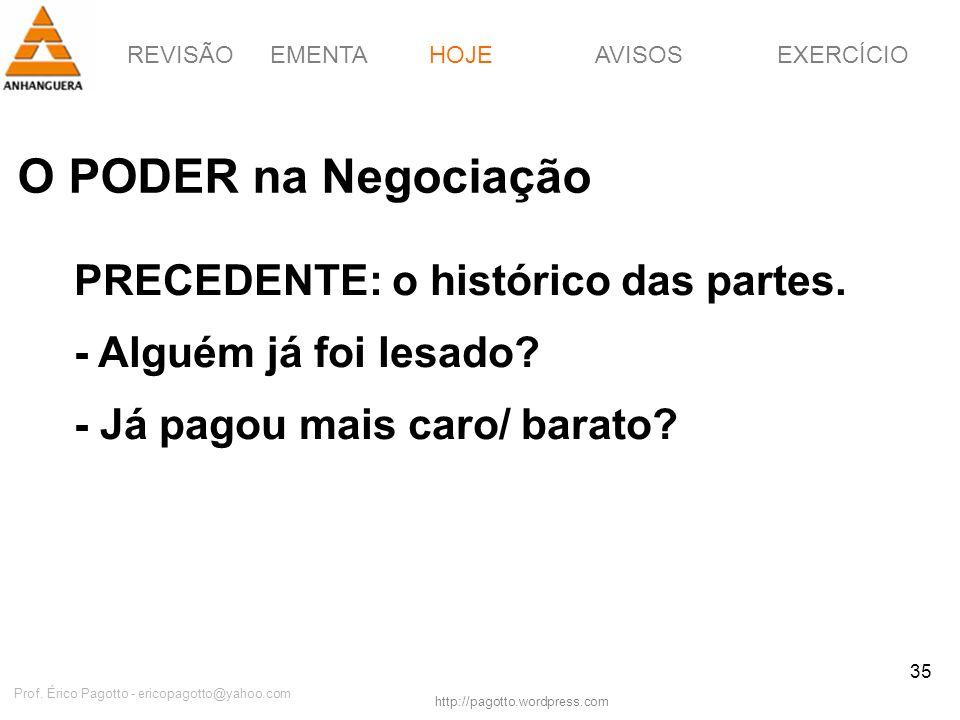 REVISÃOEMENTAHOJEEXERCÍCIOAVISOS http://pagotto.wordpress.com Prof. Érico Pagotto - ericopagotto@yahoo.com 35 O PODER na Negociação HOJE PRECEDENTE: o