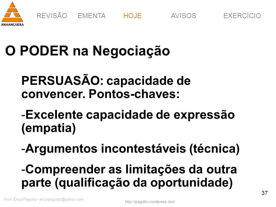 REVISÃOEMENTAHOJEEXERCÍCIOAVISOS http://pagotto.wordpress.com Prof. Érico Pagotto - ericopagotto@yahoo.com 37 O PODER na Negociação HOJE PERSUASÃO: ca