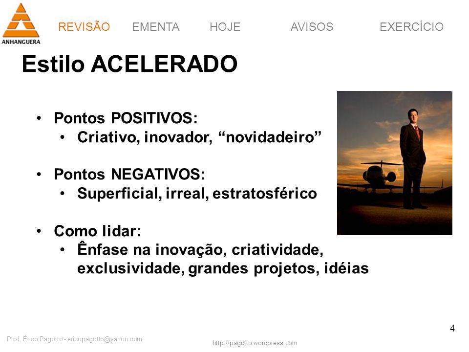 EMENTAHOJEEXERCÍCIOAVISOS http://pagotto.wordpress.com Prof. Érico Pagotto - ericopagotto@yahoo.com 4 Estilo ACELERADO Pontos POSITIVOS: Criativo, ino