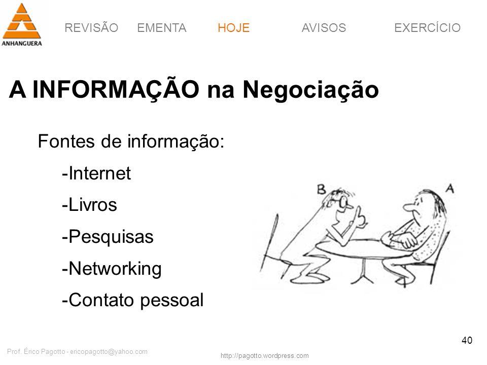 REVISÃOEMENTAHOJEEXERCÍCIOAVISOS http://pagotto.wordpress.com Prof. Érico Pagotto - ericopagotto@yahoo.com 40 A INFORMAÇÃO na Negociação HOJE Fontes d