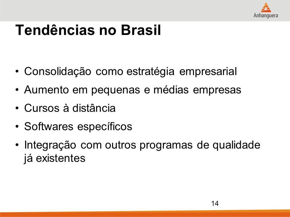 14 Tendências no Brasil Consolidação como estratégia empresarial Aumento em pequenas e médias empresas Cursos à distância Softwares específicos Integr