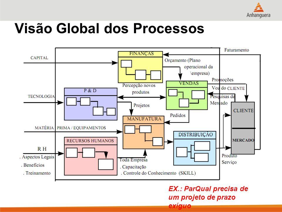 Visão Global dos Processos EX.: ParQual precisa de um projeto de prazo exíguo