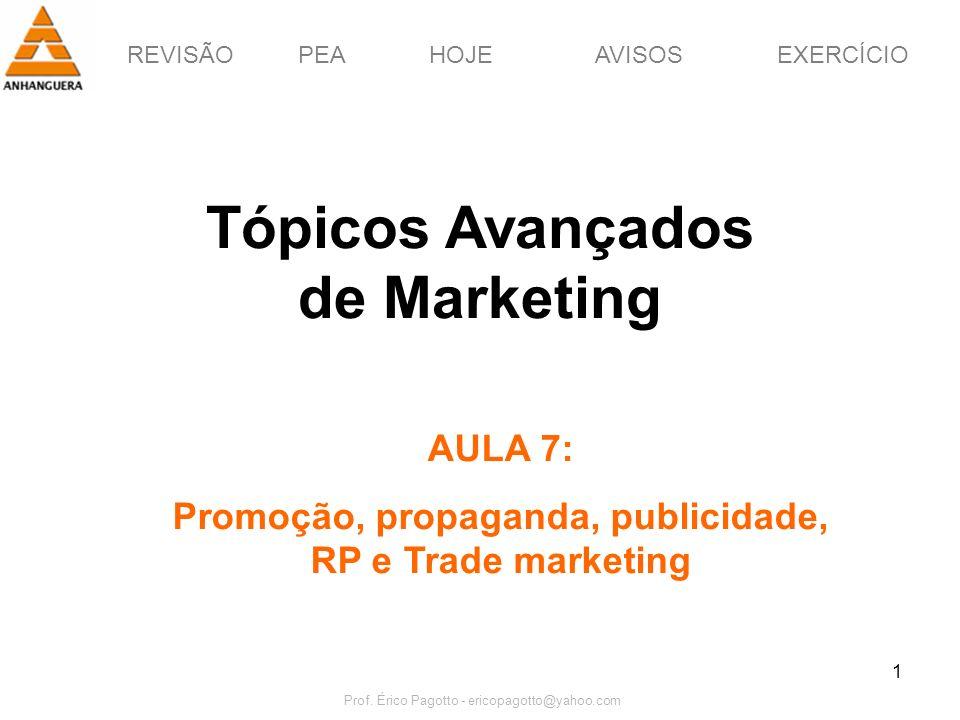 REVISÃOPEAHOJEEXERCÍCIOAVISOS Prof. Érico Pagotto - ericopagotto@yahoo.com 1 Tópicos Avançados de Marketing AULA 7: Promoção, propaganda, publicidade,