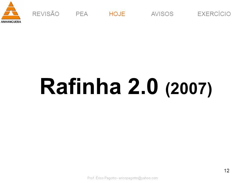 REVISÃOPEAHOJEEXERCÍCIOAVISOS Prof. Érico Pagotto - ericopagotto@yahoo.com 12 Rafinha 2.0 (2007) HOJE